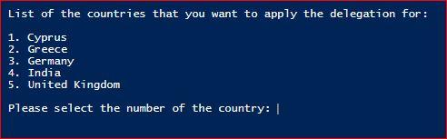 Set-ADDelegation - Country Option