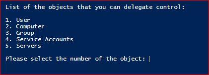 Set-ADDelegation - Object Option
