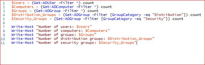 Counting objects in Active Directory using PowerShell