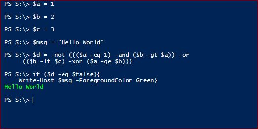 powershell logical operators