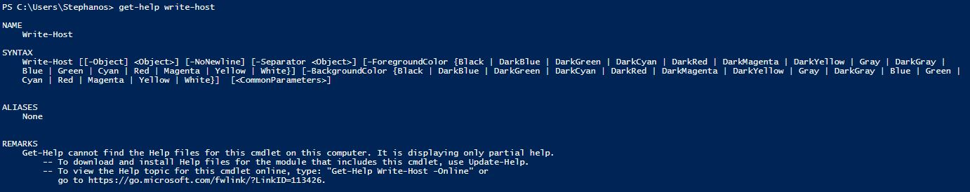 What is PowerShell - get-help write-host