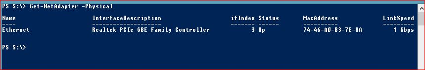 Useful PowerShell commands - get-netadapter-physical