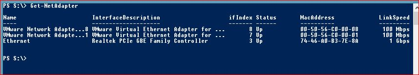 Useful PowerShell commands - get-netadapter