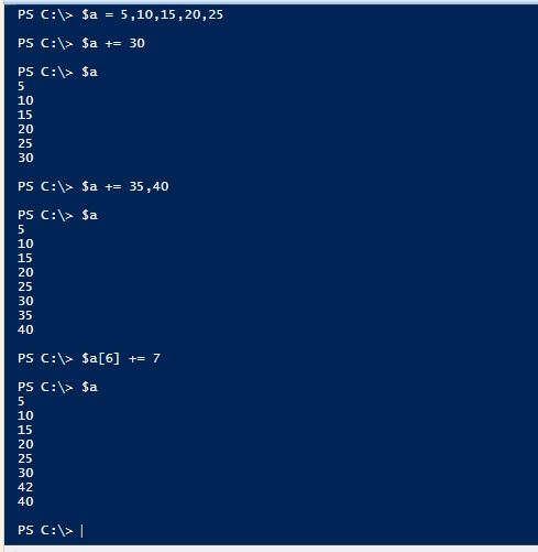 PowerShell Assignment Operators - Addition - Arrays