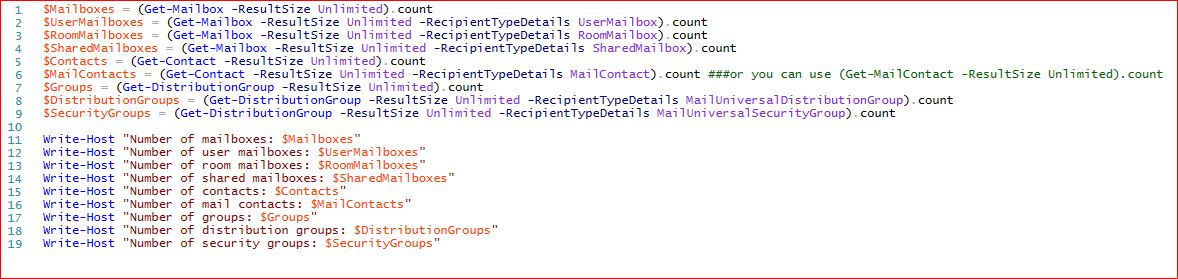 Counting in Microsoft Exchange using PowerShell