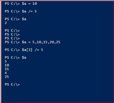 PowerShell Assignment Operators - Division