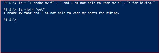 PowerShell Join Operator - Character Delimiter