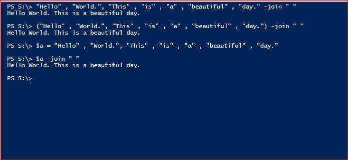 PowerShell Join Operator - Delimiter
