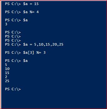 PowerShell Assignment Operator - Modulus