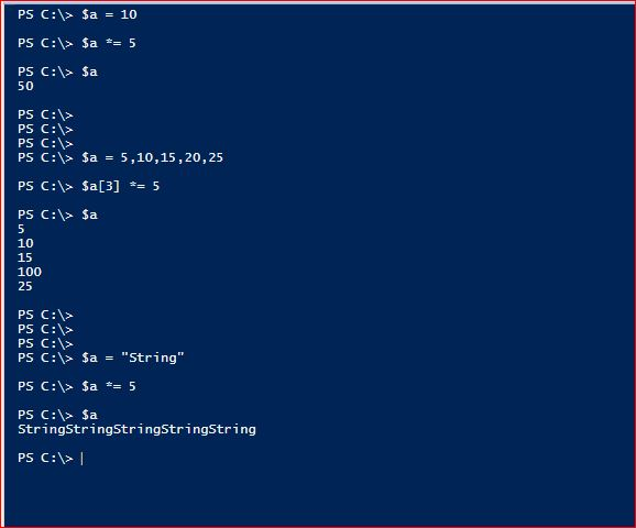 PowerShell Assignment Operators - Multiplication