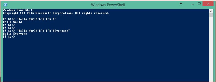 PowerShell Special Characters - Backspace