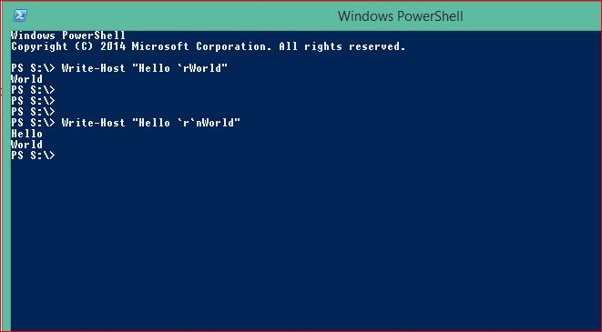 PowerShell Special Characters - Carriage Return