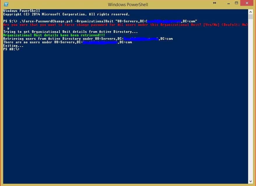 PowerShell Force Password Change Multiple Users - No User