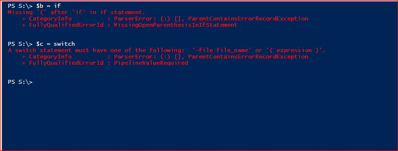 PowerShell Reserved Words