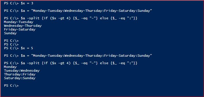 PowerShell Split Operator - Condition