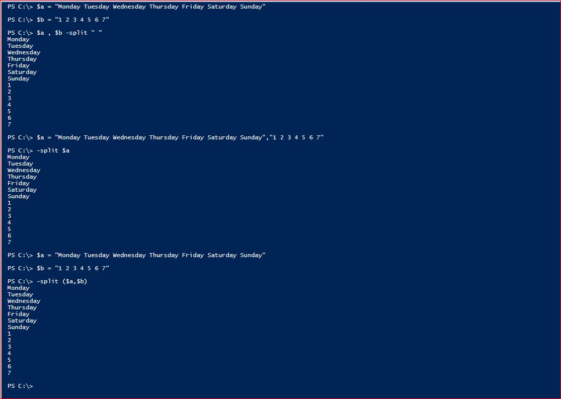 PowerShell Split Operator - Multi - All
