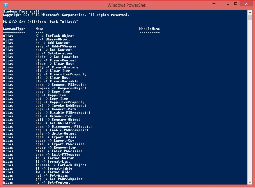PowerShell Core Commands - Get-ChildItem for Aliases