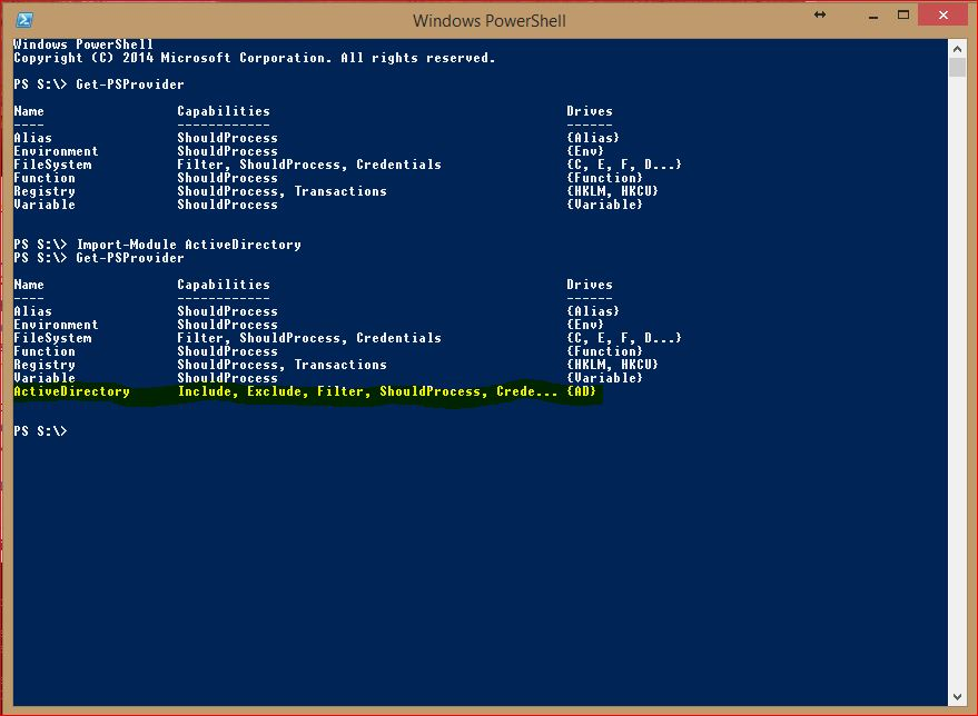 PowerShell Providers - Get-PSProvider - ActiveDirectory