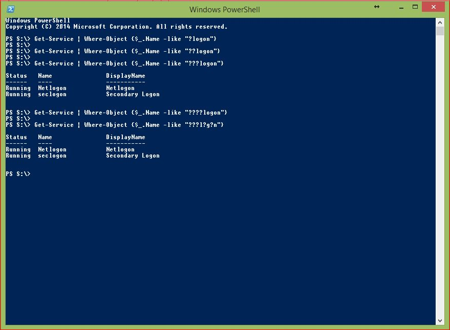 PowerShell Wildcards - Example 4 - Question Mark