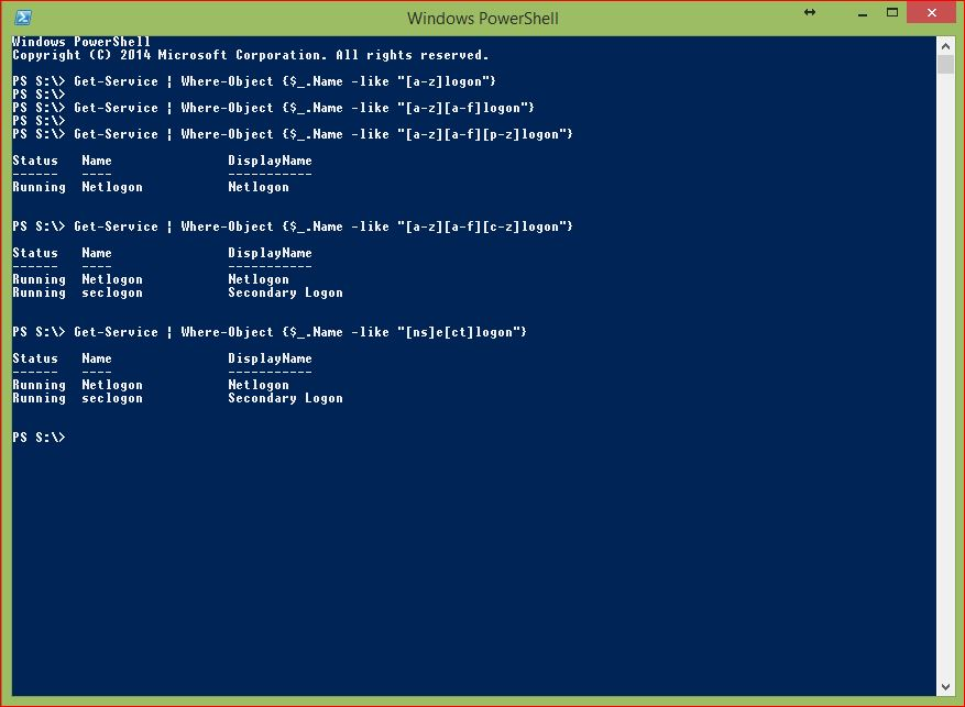 PowerShell Wildcards - Example 5 - Square Brackets