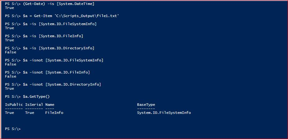 PowerShell Type Operators - Example 1