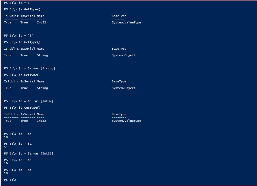 PowerShell Type Operators - Example 3