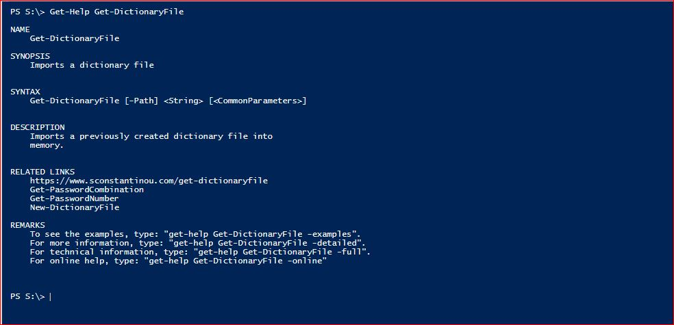 PowerShell Module DictionaryFile v2.0 - Get-Help - Get-DictionaryFile
