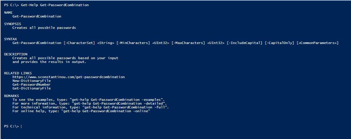 PowerShell Module DictionaryFile v2.0 - Get-Help - Get-PasswordCombination
