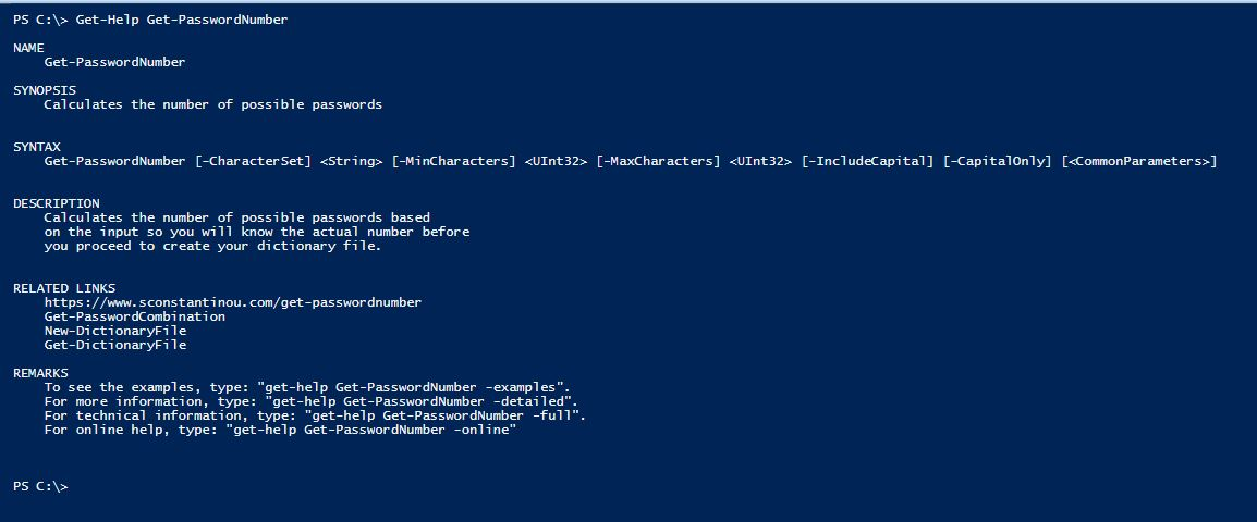 PowerShell Module DictionaryFile v2.0 - Get-Help - Get-PasswordNumber