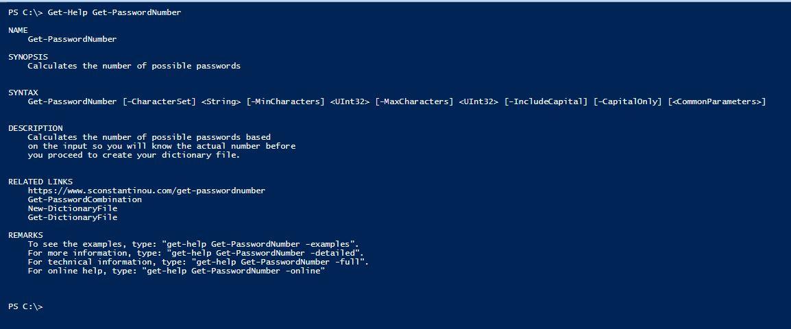 PowerShell Module DictionaryFile v2.0 - Get-Help - Get-PasswordNumber