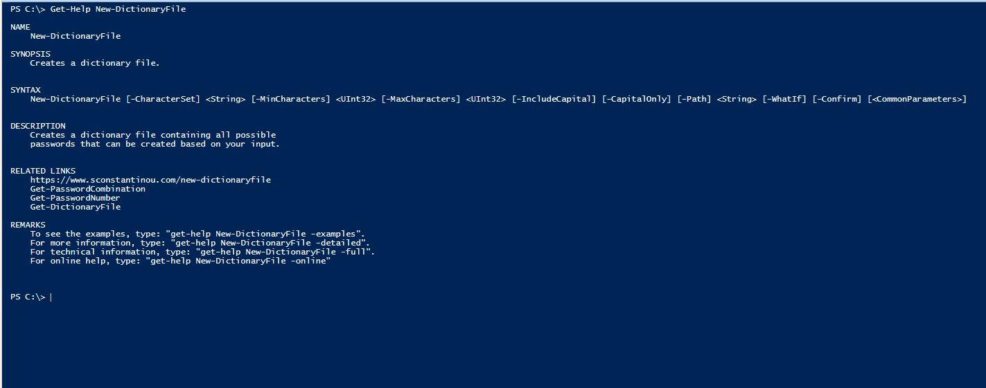 PowerShell Module DictionaryFile v2.0 - Get-Help - New-DictionaryFile
