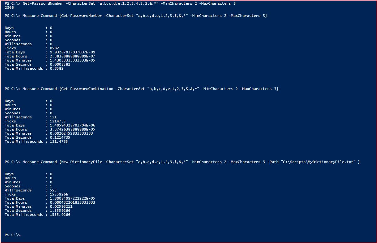 PowerShell Module DictionaryFile v2.0 - Timings