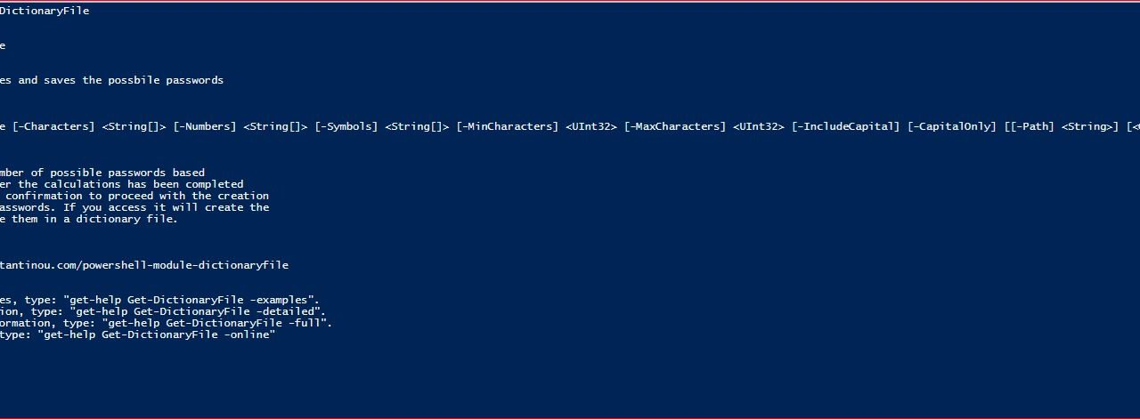 PowerShell Module DictionaryFile - Get-DictionaryFile - Help
