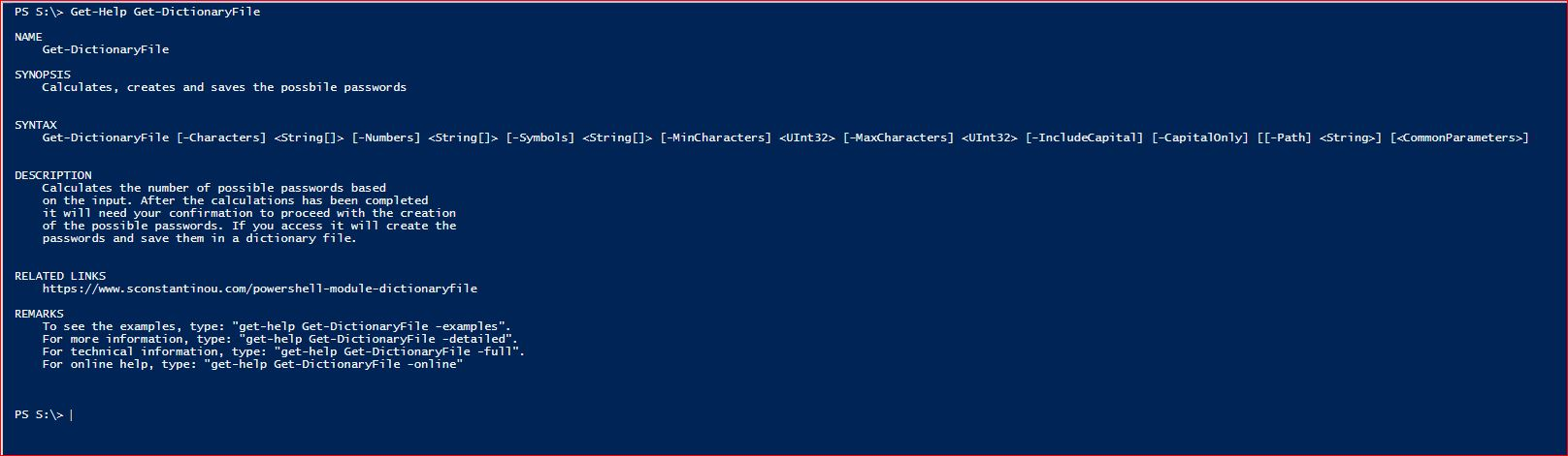 PowerShell Module DictionaryFile