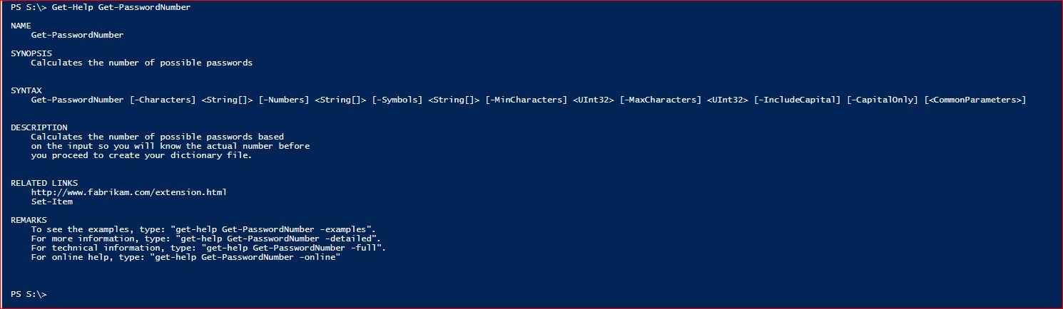 PowerShell Module DictionaryFile - Get-PasswordNumber - Help