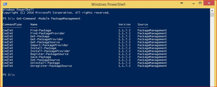 PowerShell PackageManagement - Commands