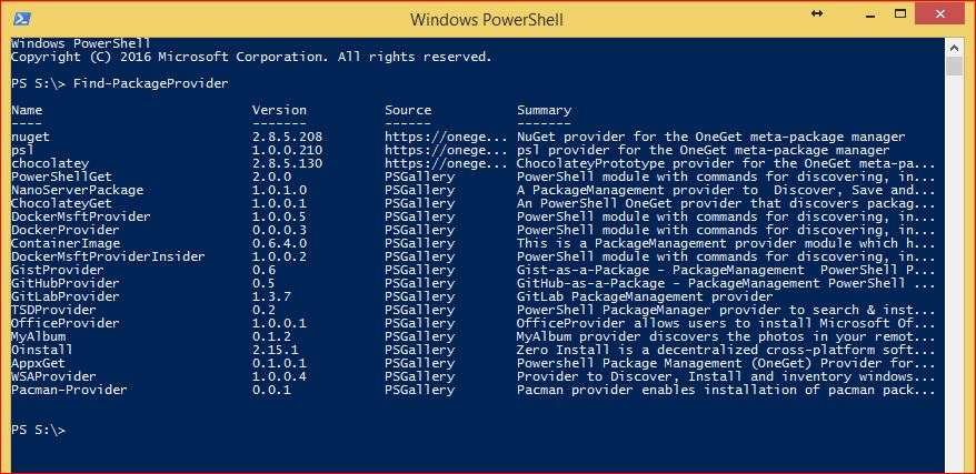 PowerShell PackageManagement - Find-PackageProvider