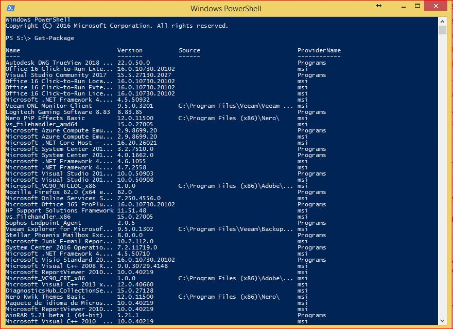 PowerShell PackageManagement - Get-Package