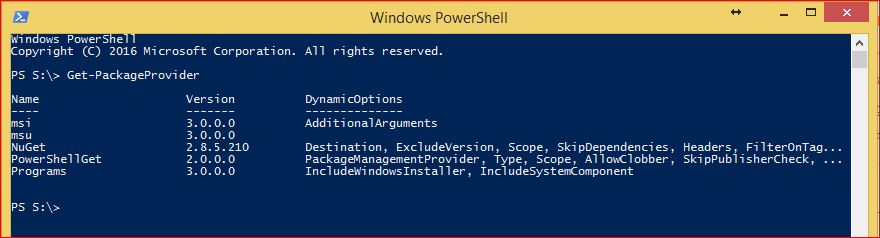 PowerShell PackageManagement - Get-PackageProvider
