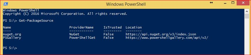 PowerShell PackageManagement - Get-PackageSource
