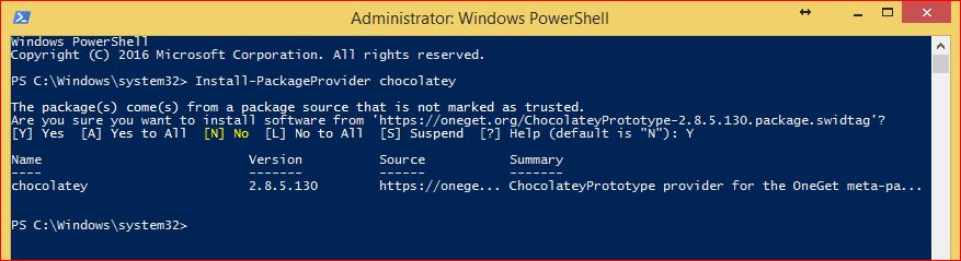PowerShell PackageManagement - Install-PackageProvider