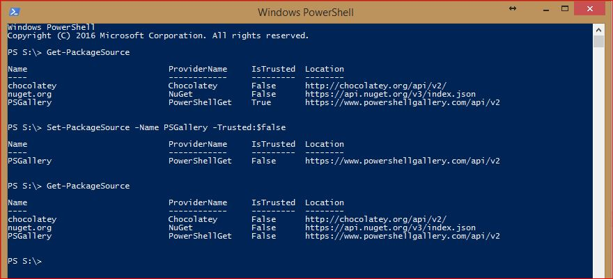 PowerShell PackageManagement - Set-PackageSource-Untrusted