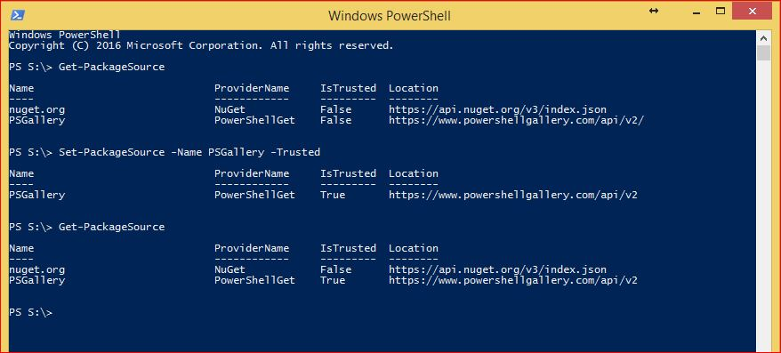 PowerShell PackageManagement - Set-PackageSource