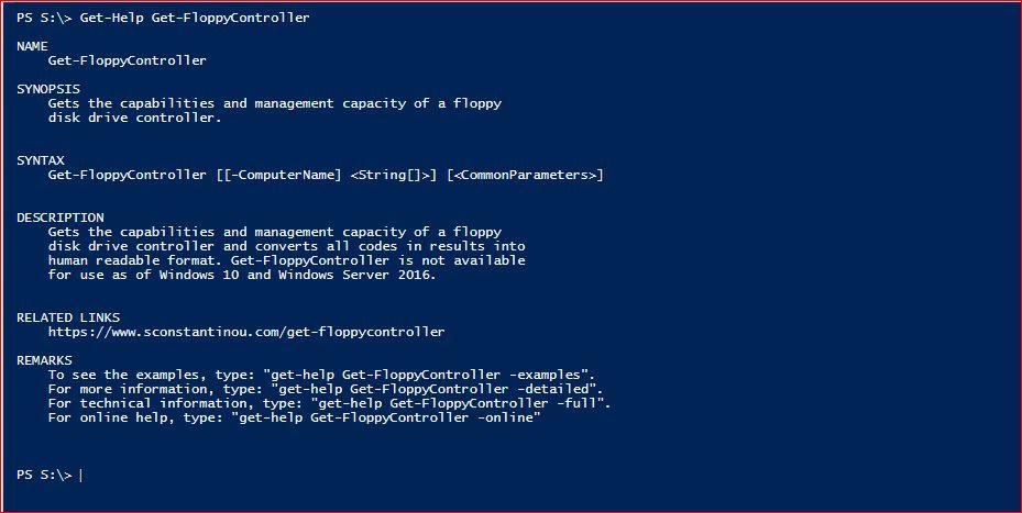 PowerShell Module SysInfo - Get-Help - Get-FloppyController