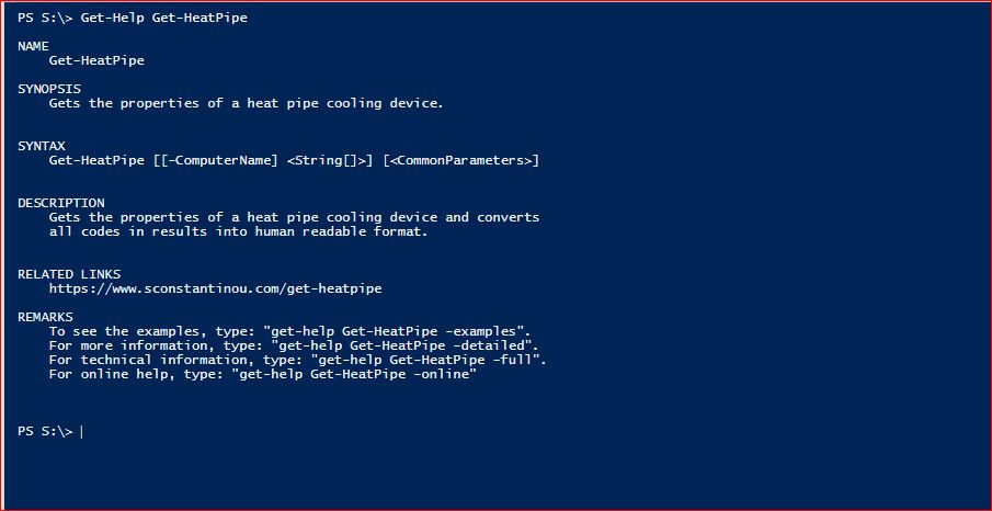 PowerShell Module SysInfo - Get-Help - Get-HeatPipe