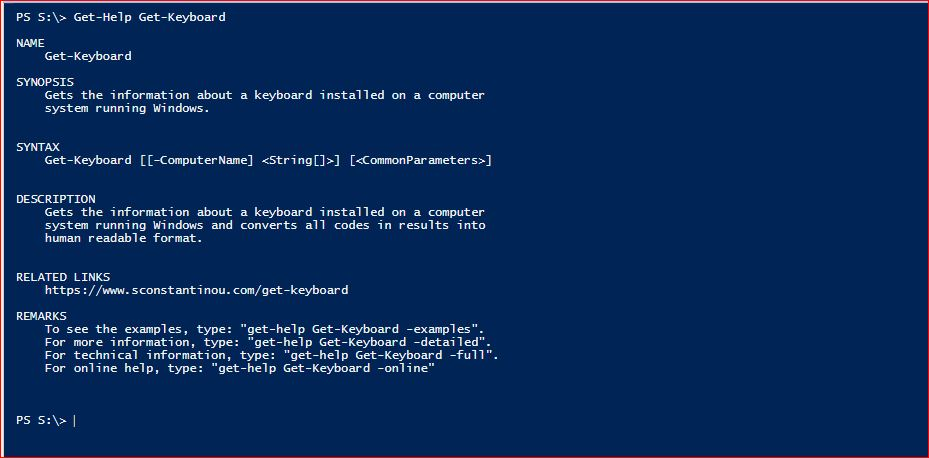 PowerShell Module SysInfo - Get-Help - Get-Keyboard