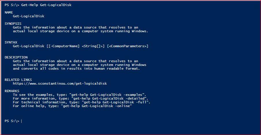 PowerShell Module SysInfo - Get-Help - Get-LogicalDisk