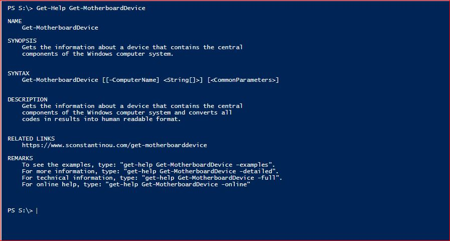 PowerShell Module SysInfo - Get-Help - Get-MotherboardDevice