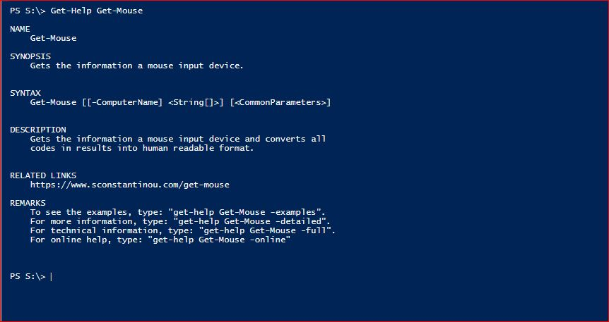 PowerShell Module SysInfo - Get-Help - Get-Mouse