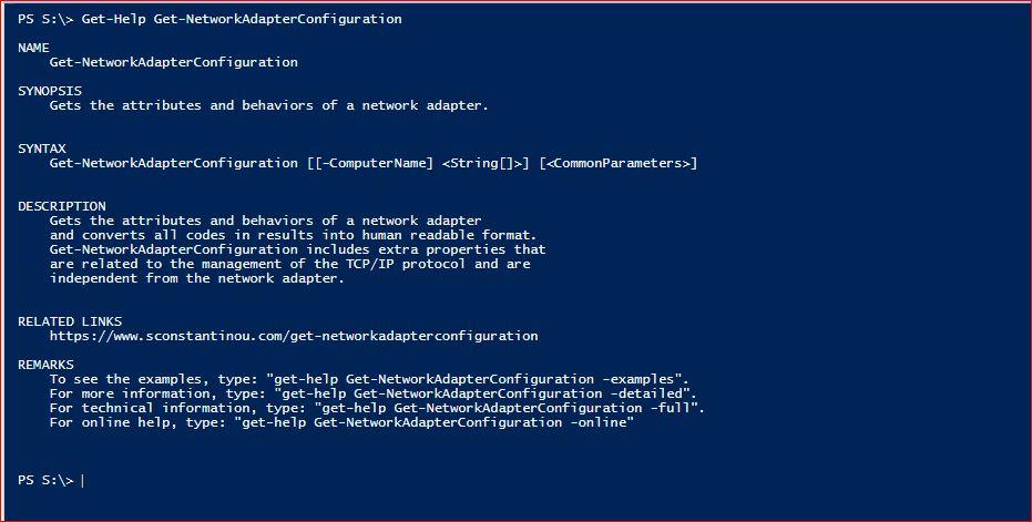 Get-NetworkAdapterConfiguration